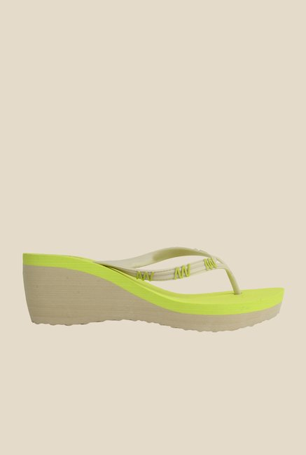 Spunk Poppy Lime Green Wedge Heeled Slippers