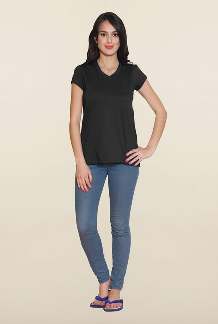 Sweet Dreams Jet Black Solid V Neck T Shirt