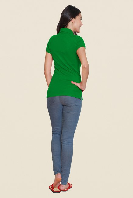 Sweet Dreams Green Solid Polo T Shirt