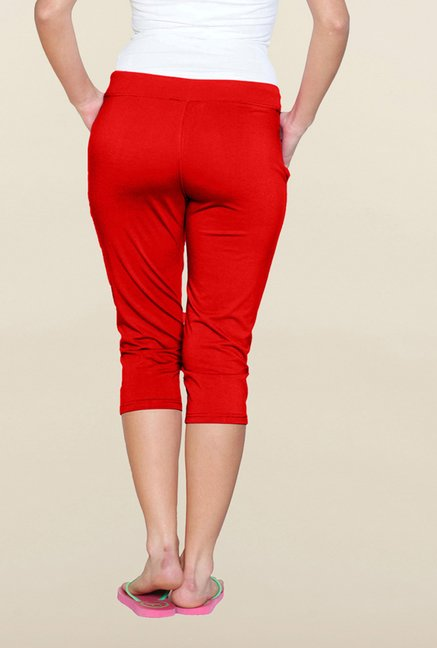 Sweet Dreams Tomato Red Solid Capri