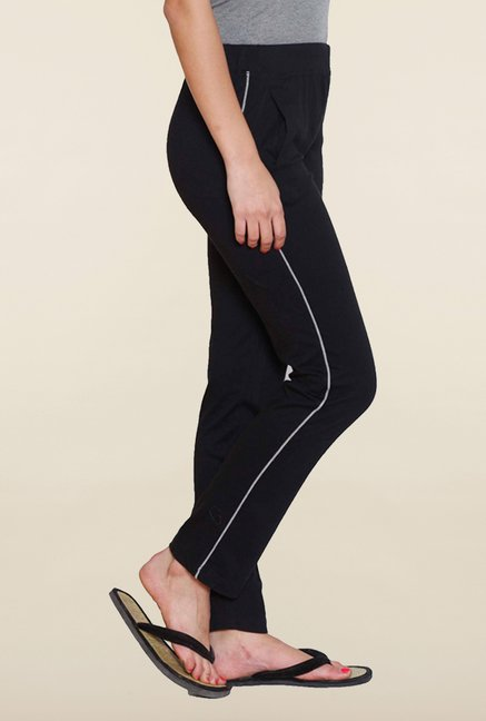 Sweet Dreams Jet Black Solid Track Pant