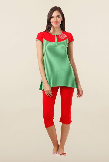 Sweet Dreams Green & Red Striped Capri Set