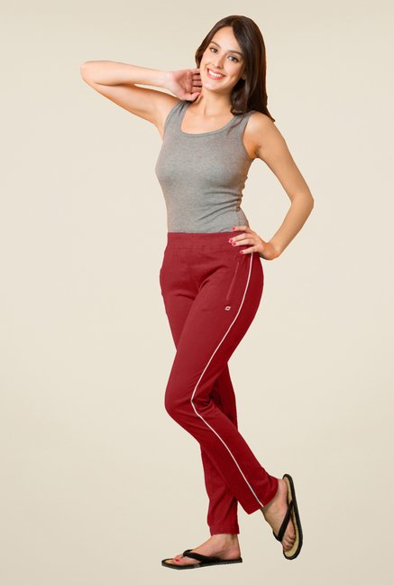 Sweet Dreams Maroon Solid Cotton Track Pant
