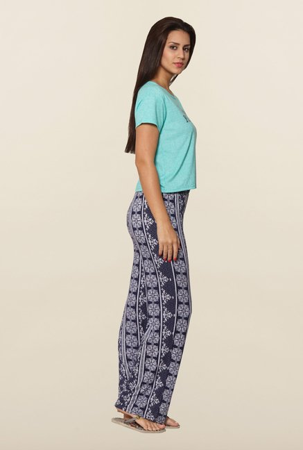 Sweet Dreams Ice Green & Navy Printed Pyjama Set