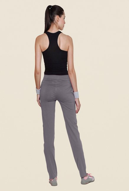 Sweet Dreams Grey Solid Cotton Track Pant