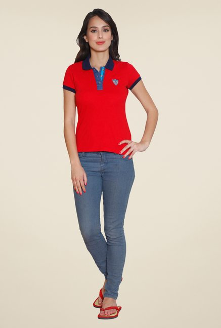 Sweet Dreams Red Solid Polo T Shirt