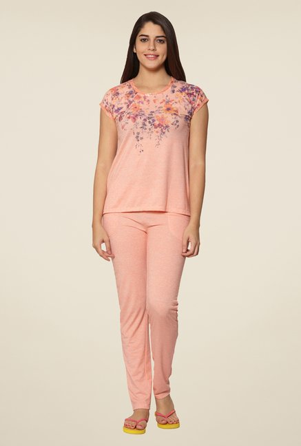 Sweet Dreams Peach Floral Printed Pyjama Set