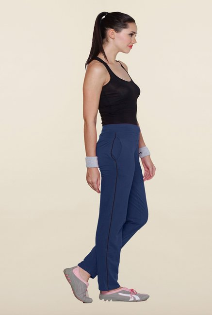 Sweet Dreams Navy Solid Cotton Track Pant