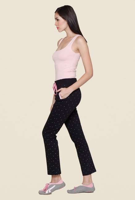 Sweet Dreams Jet Black Printed Track Pant