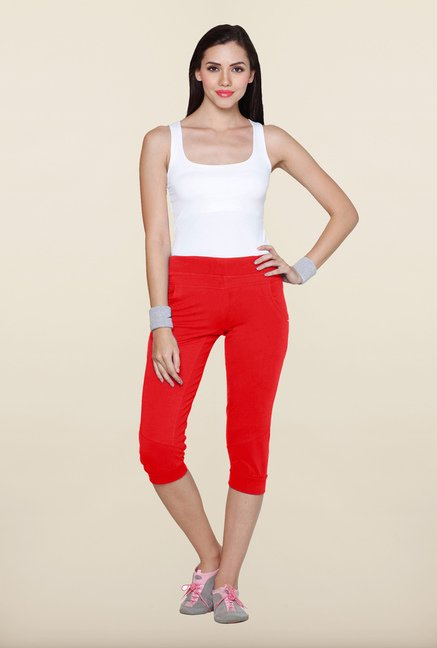 Sweet Dreams Spicy Red Cotton Lycra Capri