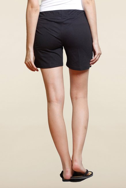 Sweet Dreams Jet Black Solid Cotton Shorts