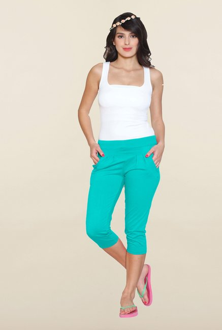 Sweet Dreams Green Solid Cotton Polyblend Capri