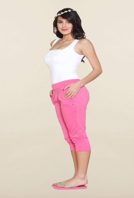 Sweet Dreams Pink Solid Capri