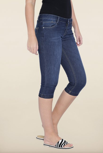 Kraus Dark Blue Skinny Fit Denim Capris