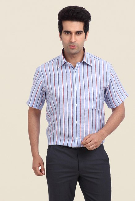 Raymond Blue & White Striped Linen Shirt