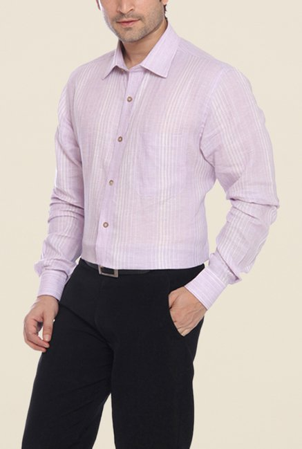 Raymond Purple & Cream Striped Linen Shirt