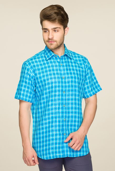 Raymond Blue Checks Linen Shirt