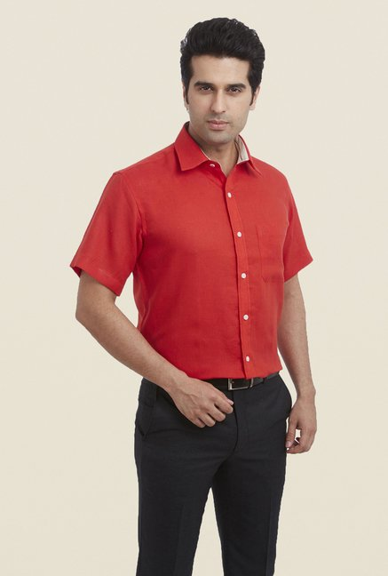 Raymond Red Solid Linen Shirt