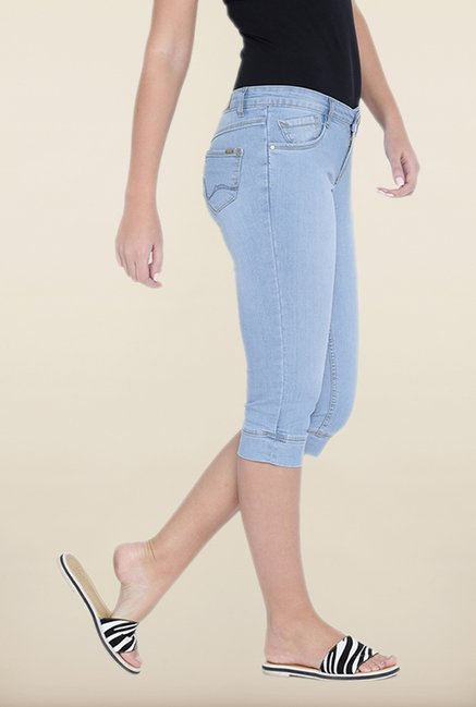 Kraus Light Blue Skinny Fit Denim Capris