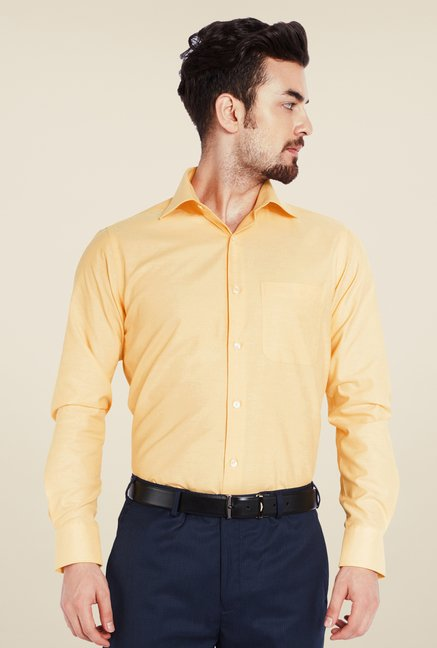 Raymond Orange Solid Shirt