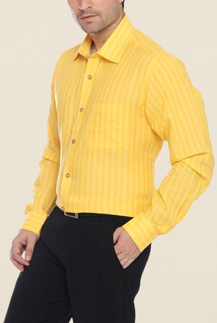 Raymond Yellow Striped Linen Shirt
