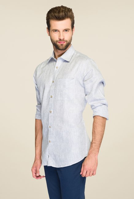 Raymond Grey Textured Linen Shirt