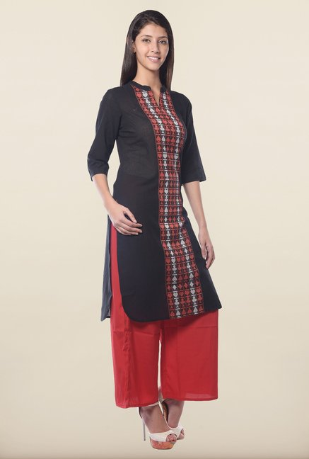Aurelia Black Band Neck Regular Fit Kurta