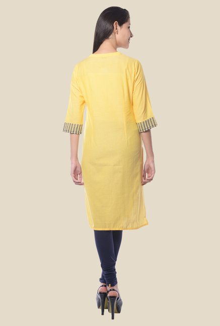 Aurelia Yellow Band Neck Regular Fit Kurta