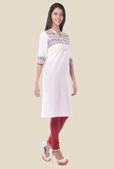 Aurelia White Band Neck Regular Fit Kurta