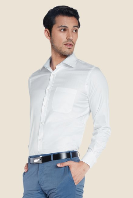 Raymond White Solid Shirt