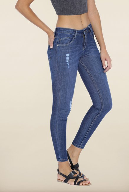 Kraus Blue Ankle Length Distressed Jeans