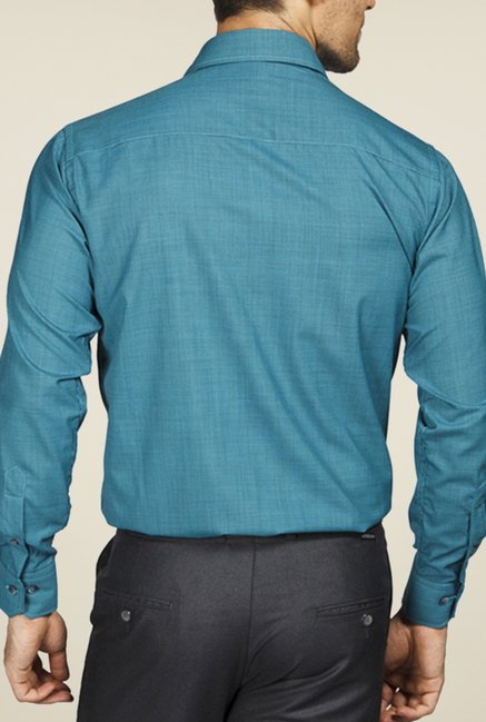 Raymond Turquoise Solid Shirt