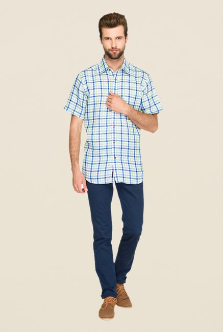 Raymond Blue & Green Checks Linen Shirt