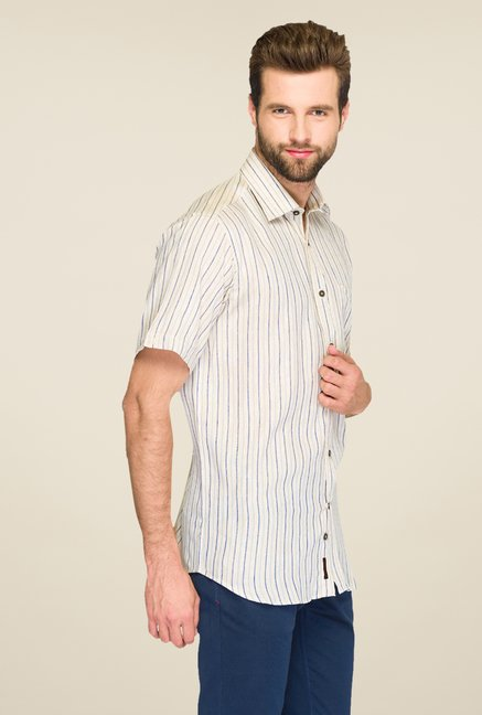 Raymond Beige & Blue Striped Linen Shirt