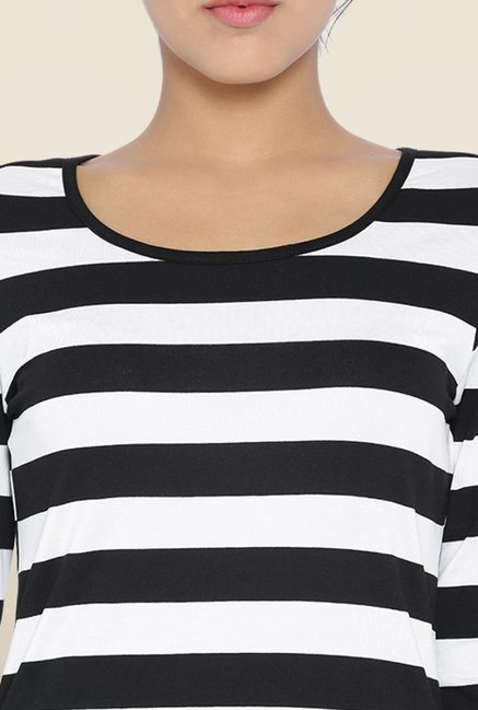 Kraus Black & White Striped Top