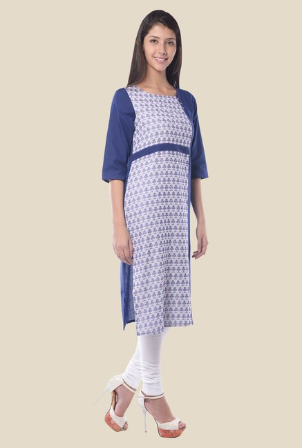 Aurelia Blue Round Neck Regular Fit Kurta