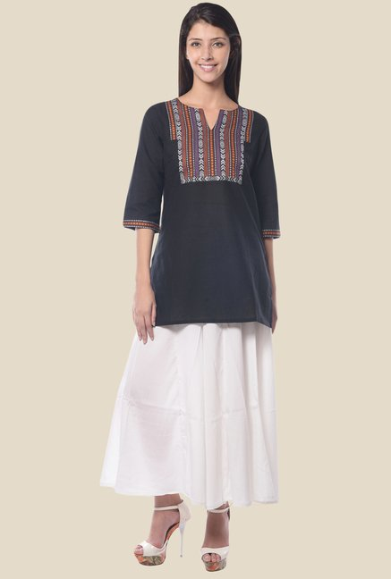 Aurelia Black Round Neck Regular Fit Kurta