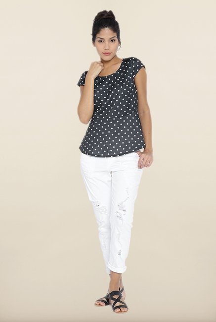 Kraus Black Polka Dot Printed Top