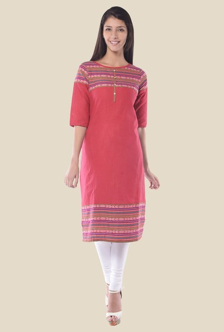 Aurelia Pink Round Neck Regular Fit Kurta