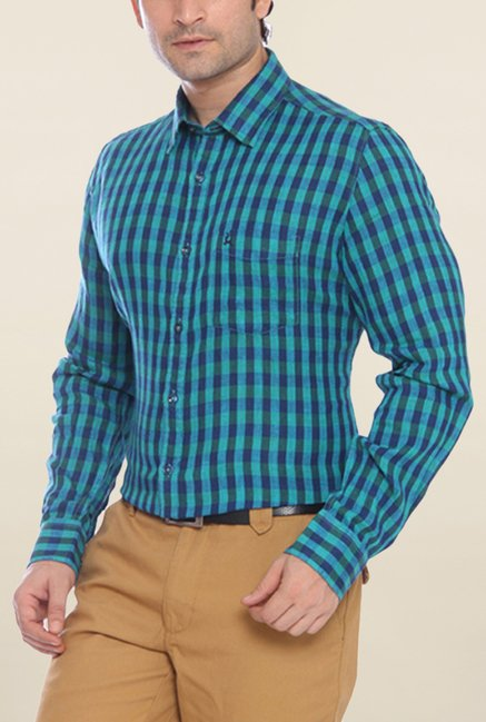 Parx Blue & Green Checks Linen Shirt