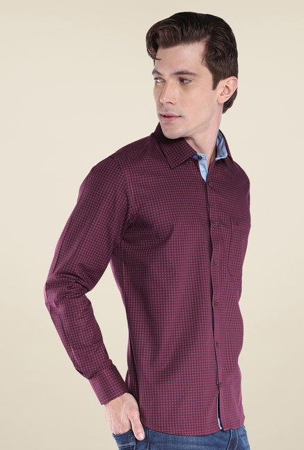 Raymond Maroon Checks Shirt