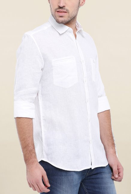 Parx White Solid Linen Shirt