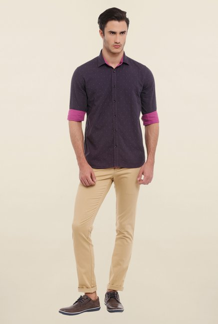 Parx Purple Printed Reversible Shirt