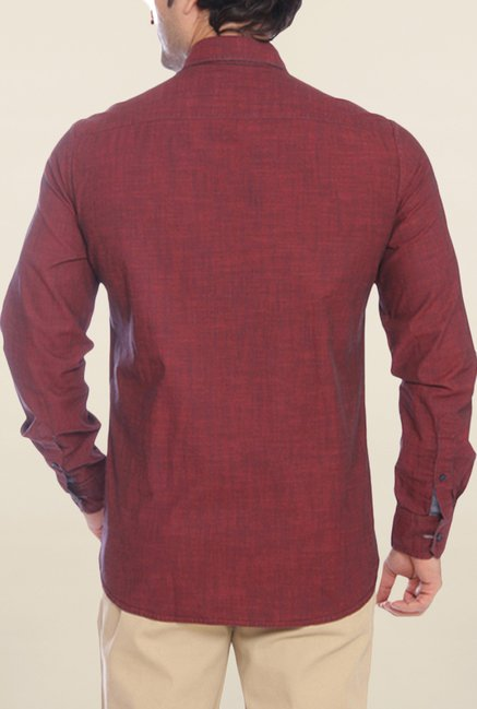 Parx Maroon Textured Shirt