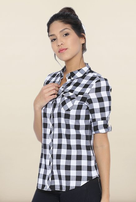 Kraus Black Checked Casual Shirt