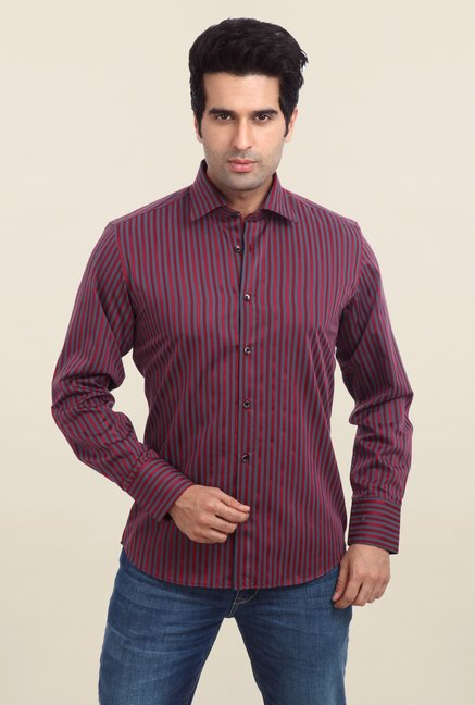Parx Maroon Striped Shirt