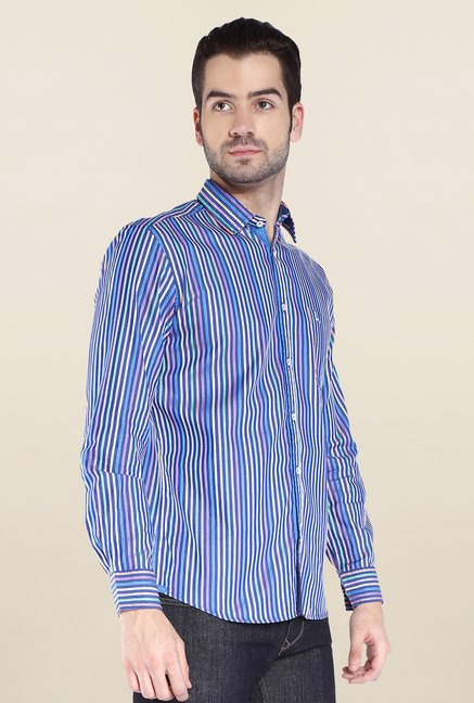 Parx Dark Blue Striped Shirt