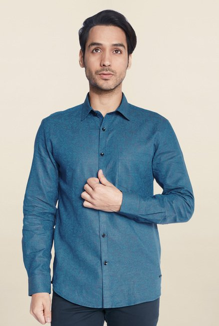Parx Dark Blue Printed Linen Shirt