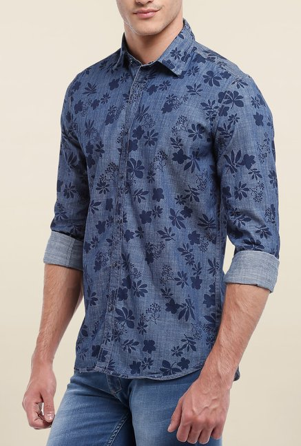 Parx Blue Floral Printed Reversible Shirt