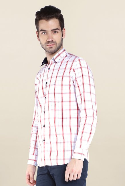 Parx White & Red Checks Shirt